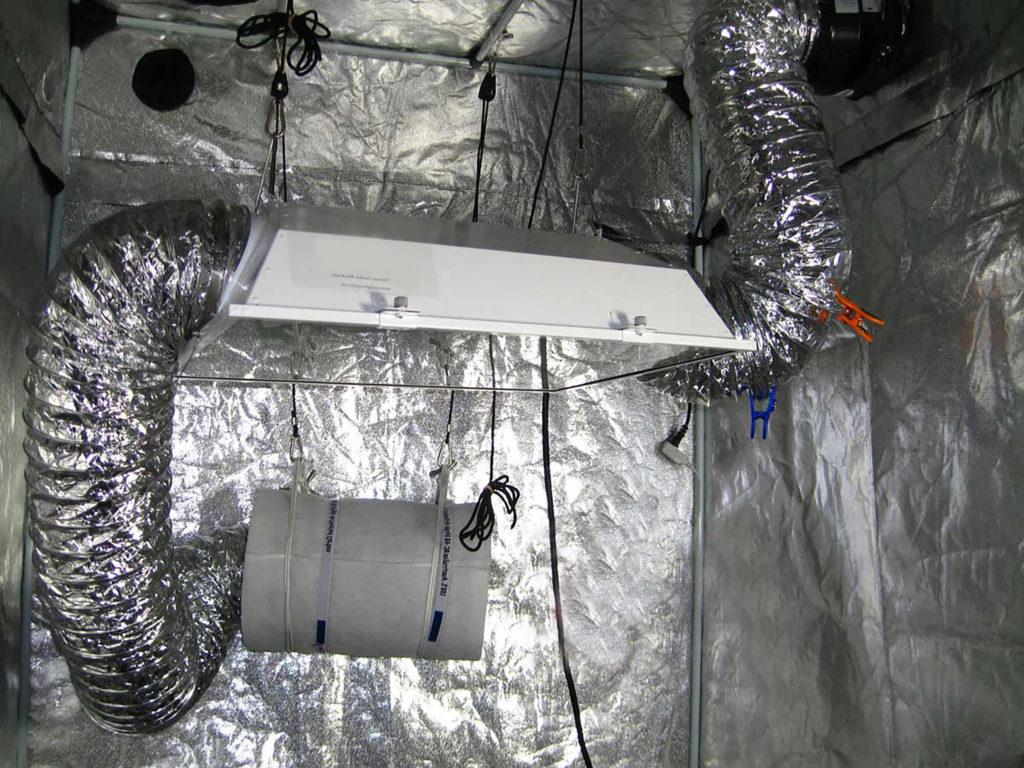 Een koolstoffilter in een grow room